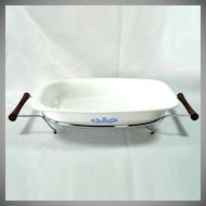 Corning Ware Blue Cornflower Rectangular Roaster in Cradle