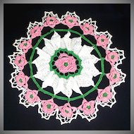Pink and White 16 Inch Round Crochet Roses Doily