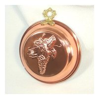 Round Old Dutch Copper Kitchen Mold Embossed Grapes