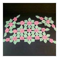 Pink Green Roses Crochet Antimacassar Chair Doily Set