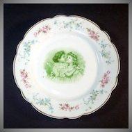 Antique Photographic Transfer Porcelain Plate Hugging Little Girls