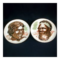 Pair Australian Aboriginal Couple Plates by Westminster