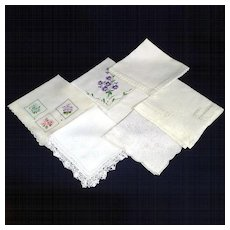 6 White Lace and Embroidered Vintage Hankies
