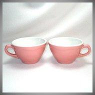 Pair Pink Shenango Restaurant Ware Coffee Cups