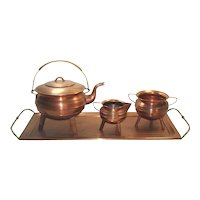Copper Tea Set With Tray, Tripod Leg Ringed Form
