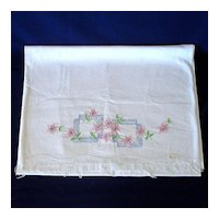 Floral Embroidered Pillowcases Tubing to Finish