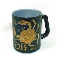 Black Gold Zodiac Coffee Mug Sign of Cancer Federal Glass