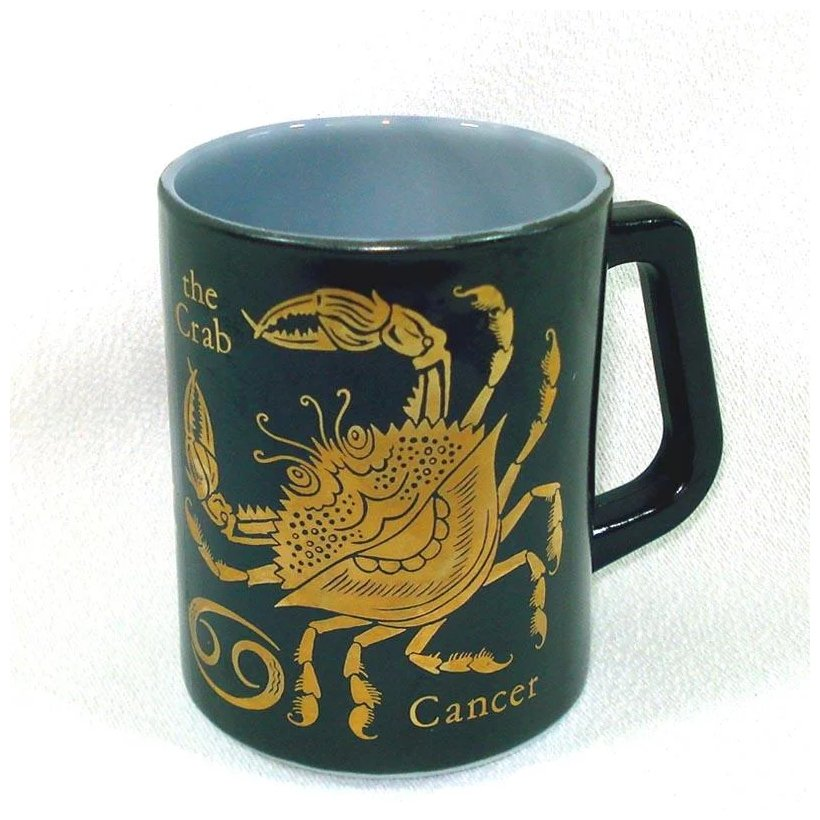 Black Gold Zodiac Coffee Mug Sign Of Cancer Federal Glass Copperton Lane Antiques And Collectibles Ruby Lane