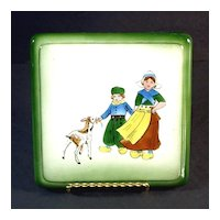 German Ceramic Trivet Hand Painted Dutch Children With Goat