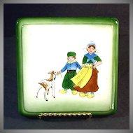 Ceramic Trivet Hand Painted Dutch Children With Goat