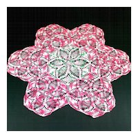 Large 26 Inch Pink White Green Crocheted Doily