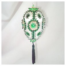 Green Oval Pin Beaded Sequin Jeweled Christmas Ornament