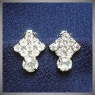 Petite Rhinestone Tilted Square Clip Earrings