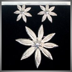 Crown Trifari Silvertone Star Flower Brooch and Earrings