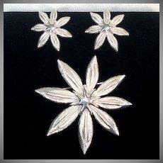 Crown Trifari Silvertone Star Flower Brooch and Earrings