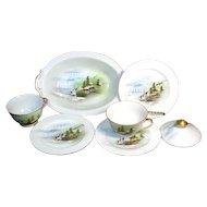 6 Pieces Oriental Landscape Scene Porcelain China Cups Plates Bowl