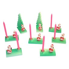 Goula Spain Hand Painted Mini Wood Santa Candle Holders 8 Pc Set