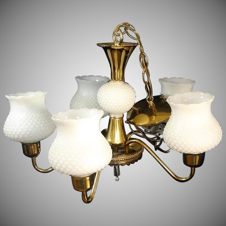 5 Arm Chandelier Hanging Light Fixture Brass White Hobnail Shades ...