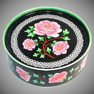Crawford Pink Peonies on Black English Biscuit Tin