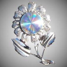 Jewelarama Holographic Refraction Disc Daisy Flower Brooch Pin