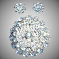 Pave Rhinestone Flower Brooch and Earrings Set