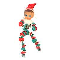 Retro Christmas Pixie Elf Mercury Glass Bead and Jingle Bells Body