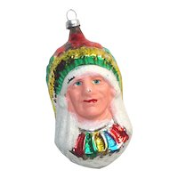 1950s West Germany Indian Chief Glass Christmas Ornament