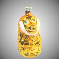 Monkey With Ruffled Collar West Germany Glass Christmas Ornament
