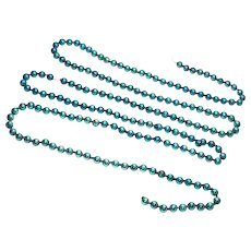 Turquoise Blue Christmas Mercury Glass Bead Garland