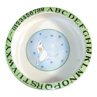 1930s Pottery Baby in Moon Childs ABC Feeding Bowl Dish