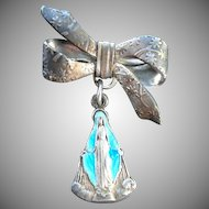 Italian Enameled Virgin Mary Miraculous Medal Bow Pin Brooch