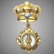 Goldtone Rhinestone Crown Pin Brooch Miraculous Mary Medal