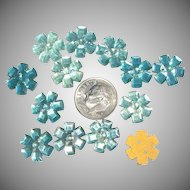 12 Glass Flower Buttons or Sew-On Jewels