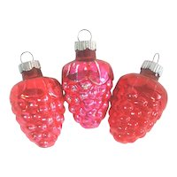 Shiny Brite Red Pink Grape Cluster Christmas Ornaments