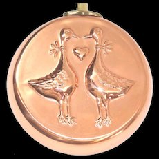 Country Style Geese 1980s Decorative Copper Skillet Mold