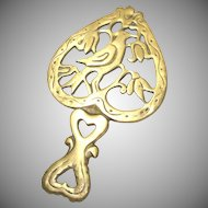 Bird In Heart Cast Brass Trivet