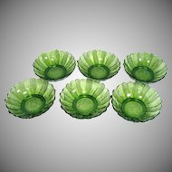 6 Anchor Hocking Country Garden Avocado Glass Bowls