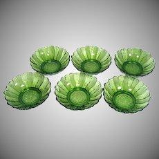 6 Anchor Hocking Country Garden Avocado Glass Bowls