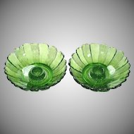 Anchor Hocking Country Garden Avocado Glass Candle Holders