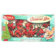 Noma 1950s Glamour Lites Plastic Poinsettia Christmas Light String