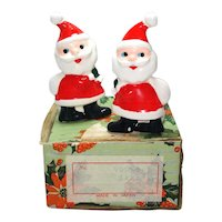 Santa Claus Christmas Candle Ring Climbers In Box 1950s Japan