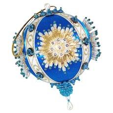 Blue White Gold Pin Beaded Sunburst Christmas Ornament