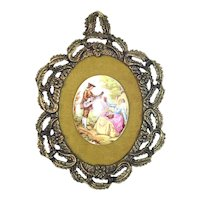 Fragonard Framed Porcelain Cameo Wall Hanging