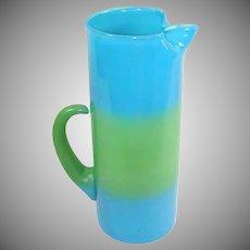 Blendo West Virginia Glass Blue Green Tall Martini Pitcher