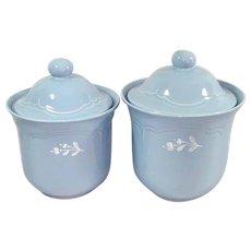 Pfaltzgraff Gazebo Blue Bouquet Flour Sugar Canisters
