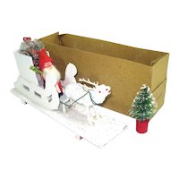 Germany Composition Christmas Belsnickle Santa, Sleigh, Reindeer