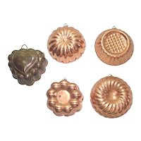 5 Small Copper Kitchen Jello Molds