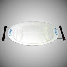 Corning Ware Cornflower Blue Meat Platter in Serving Cradle