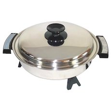 West Bend Webalco Stainless Steel Oil Core Immersible Electric Skillet