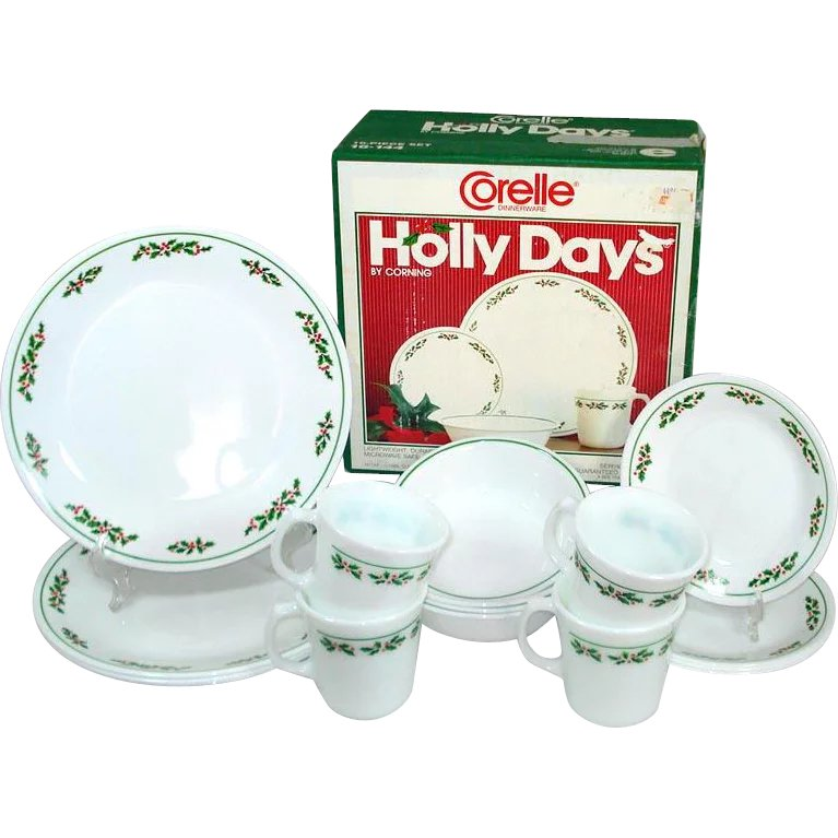 Vintage Mid Century Holiday Decor Corelle Christmas Platter by Corning Holly Days Christmas Serving Platter
